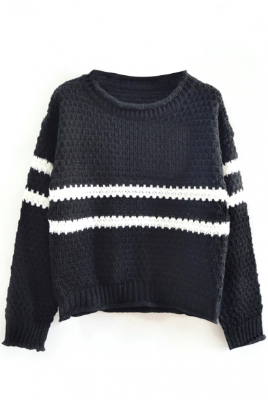 Round Neck Stripe Long Sleeve Knit Sweater