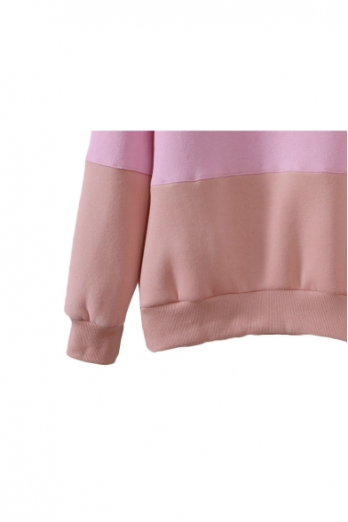 Sweatshirt Print Block Neck Color Sleeve Long Round fH75xvq