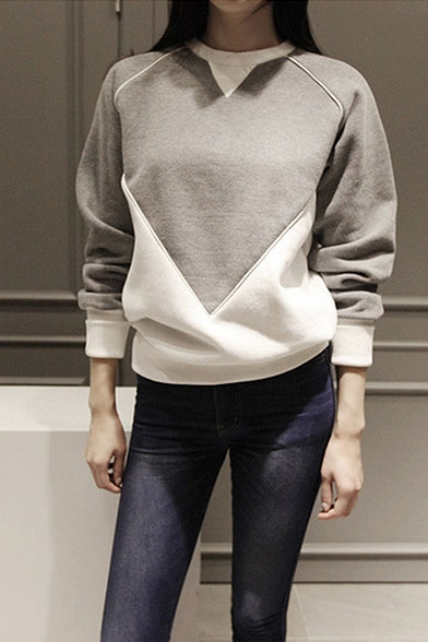 Geometric Color Block Round Neck Long Sleeve Sweatshirt