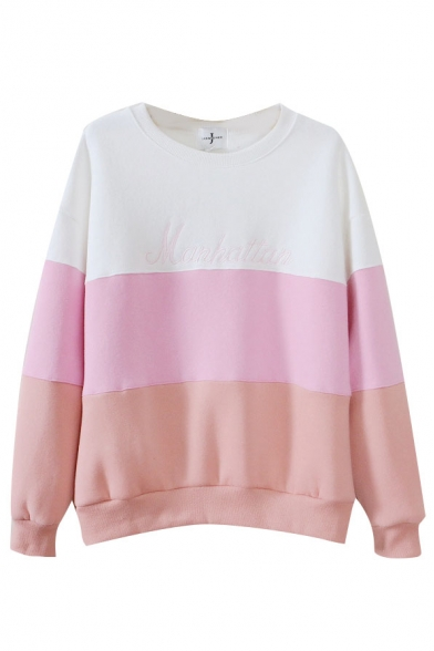 Color Neck Long Print Sweatshirt Round Sleeve Block 4wqgt1r4I