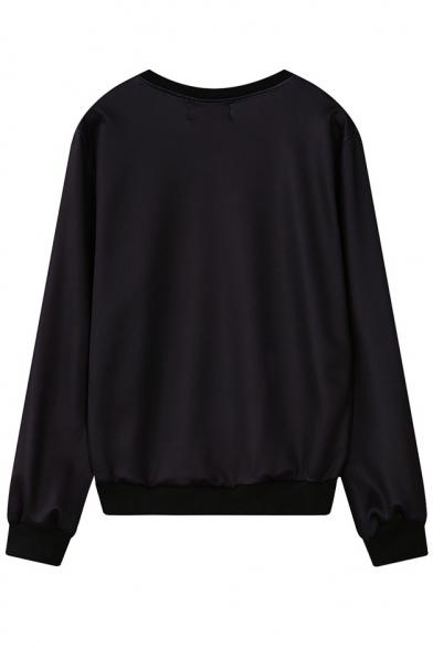Deer Head Print Round Neck Long Sleeve Sweatshirt