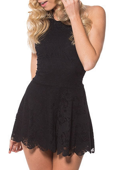 Plain Halter Sleeveless Lace A-Line Dress