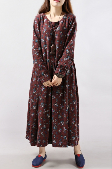 Floral Print Round Neck Long Sleeve Smock Maxi Dress
