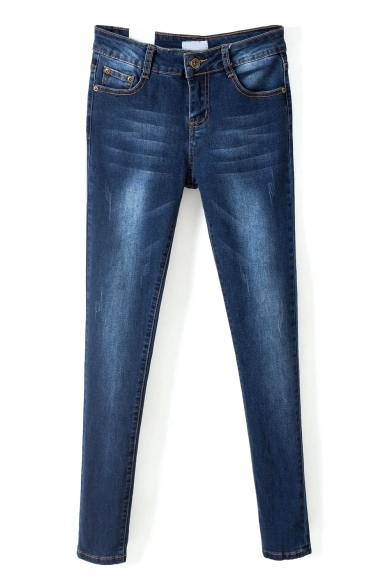 Zip Fly Single Button Pockets Skinny Wash Jeans