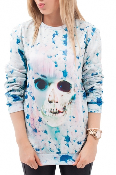 Lady Skull Print Round Neck Long Sleeve Sweatshirt