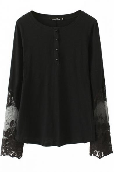 bef329fa24705 Plain Round Neck Button Front Long Sleeve Lace Patchwork T-Shirt -  Beautifulhalo.com