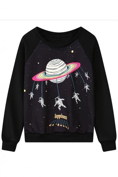 Planet Print Round Neck Long Sleeve Sweatshirt