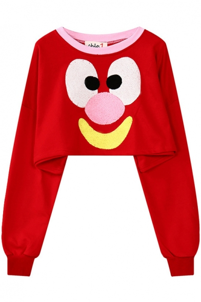 Clown Face Print Round Neck Long Sleeve Cropped Sweatshirt