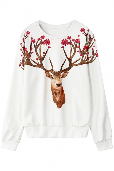 15f0a149ffd0 Deer Head Print Round Neck Long Sleeve Sweatshirt - Beautifulhalo.com