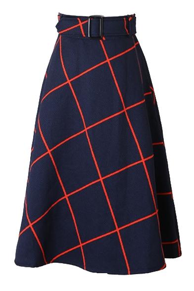 Plaid Belt Waist Zipper Back A-Line Midi Skirt