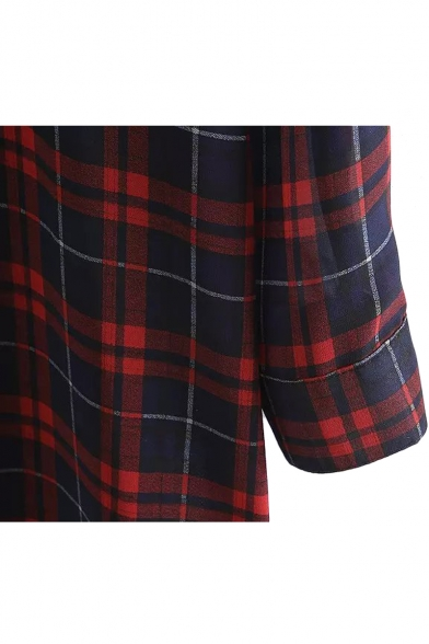 Plaid Lapel Single Breasted Long Sleeve Chiffon Shirt Dress