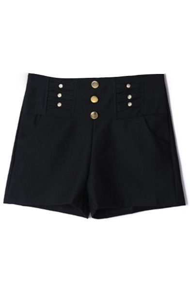 Plain High Waist Button Fly Hotpant Shorts