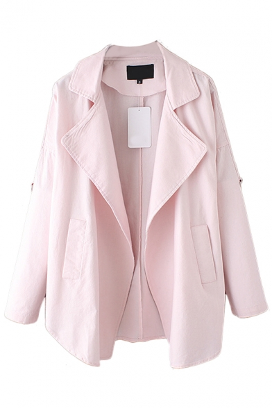 Plain Lapel Double Pocket Open Front Coat