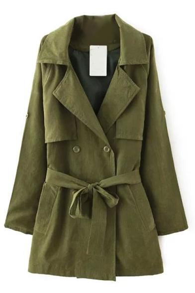 Plain Lapel Long Sleeve Button Tie Waist Duster