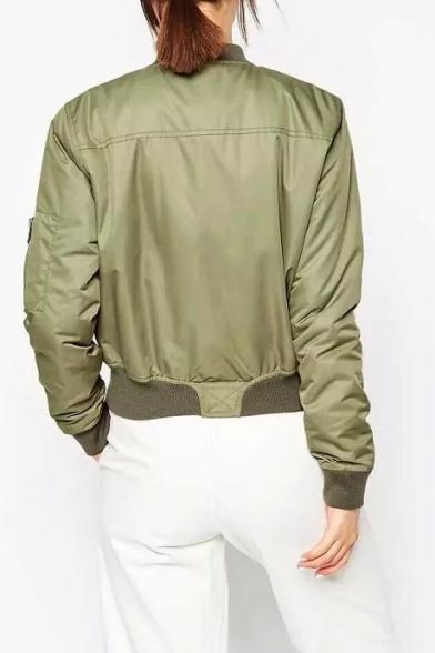 Plain Collar Long Jacket Stand Padded Sleeve Zipper Cotton przpxw5q