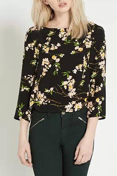 Floral Print Black Background Long Sleeve Button Back Blouses
