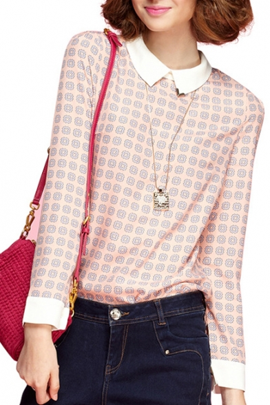 Lapel Beautiful Print Chiffon Long Sleeve Blouse