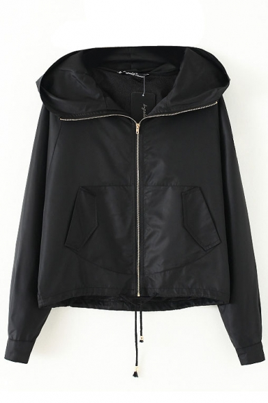 Plain Badge Embroidery Hooded Long Sleeve Zip Up Coat