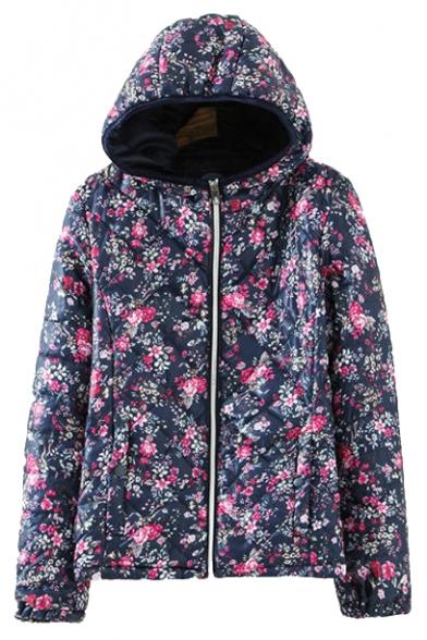 Floral Hoodie Long Sleeve Zip Up Cotton Coat