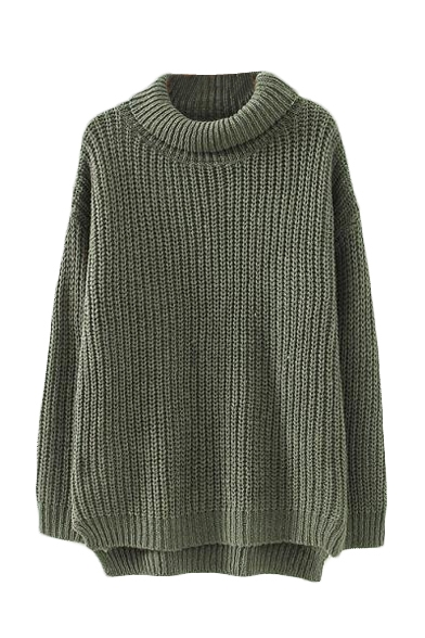 Green Turtle Neck Long Sleeve High Low Sweater