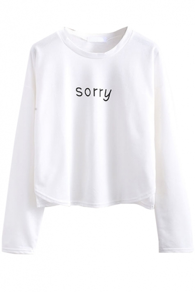 Long Sleeve Letter Print Round Neck Tee