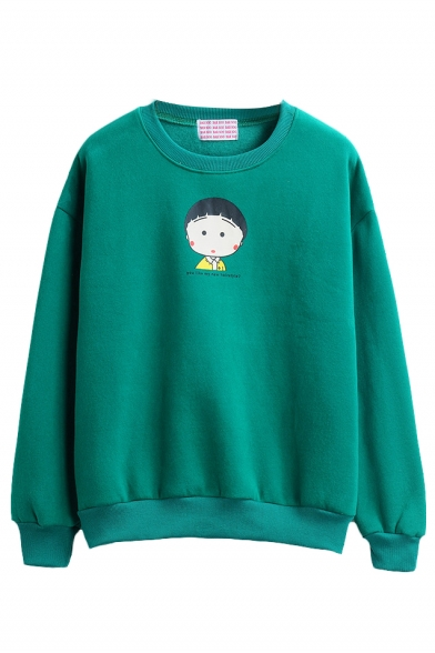 Long Sleeve Round Neck Cartoon Print Sweatshirt