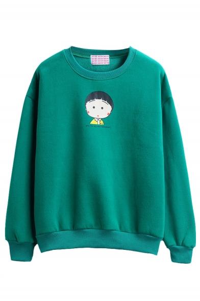 Long Sleeve Round Neck Cartoon Print Sweatshirt