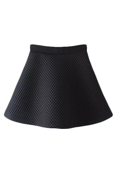 Mesh Plain Black Zipper Back Flare Skirt
