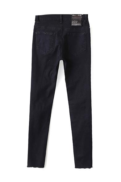 Black Single Button Zipper Ripped Knee Jeans