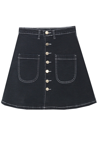 Button Fly Double Pockets A-Line Mini Skirt