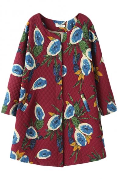 Fruit Print Round Neck Single-Breast Tunic Coat