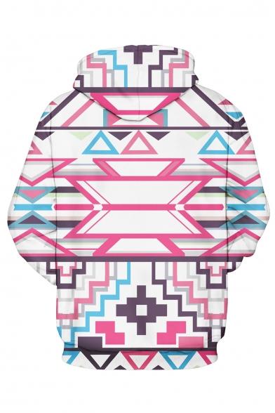 Sleeve Hoodie Laid Back Geometric Long Print IC6xgqBw