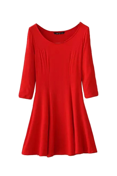 Round Neck Plain 3/4 Length Sleeve Fit and Flare Dress