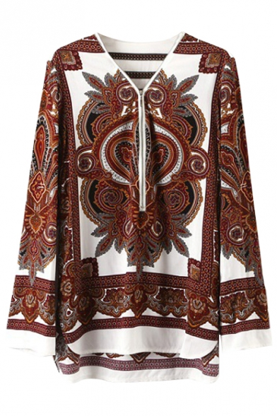 Zipper Detail Tribal Print Long Sleeve V-Neck Blouse