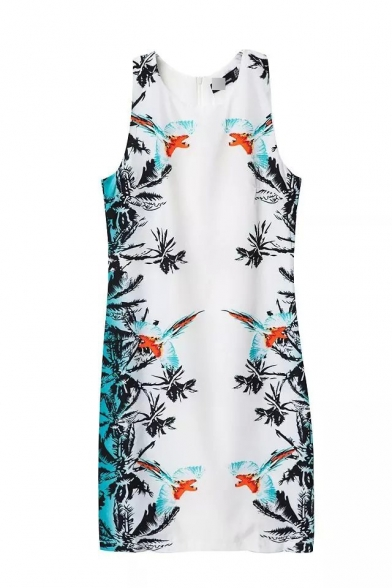 Flying Birds Print Round Neck Sleeveless Zip Back Bodycon Dress