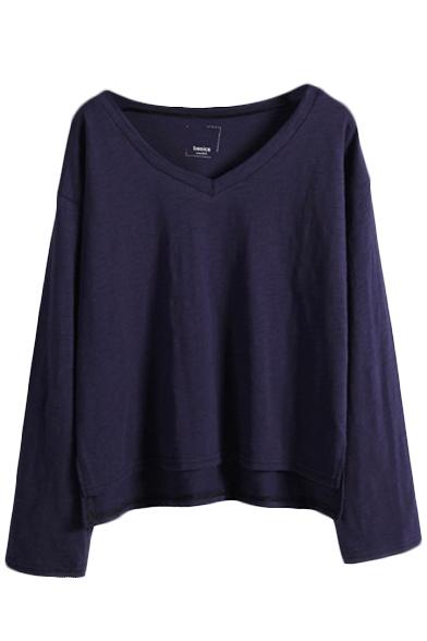 Plain long sleeve v neck crop tunic t shirt for Plain yellow long sleeve t shirt