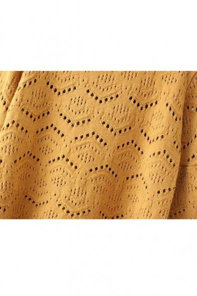 3 Sleeve Sweater Round Length Plain 4 Hollow Knit Neck zqTqEwfv