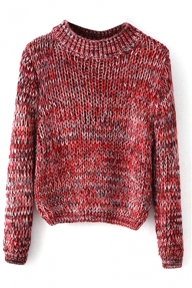 Round Neck Long Sleeve Heathered Knit Sweater