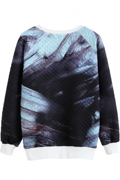 Print Sleeve Neck Long Letter Round Sweatshirt Feather nq1UvxwZ