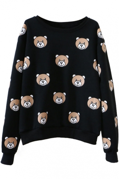 Round Neck Long Sleeve Pullover Bear Print Sweatshirt