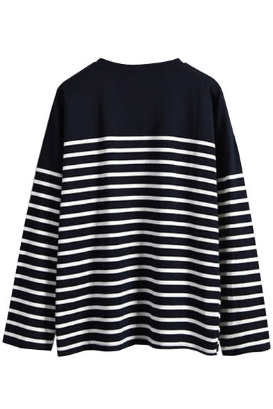 Stripe Print Long Sleeve Round Neck T-Shirt