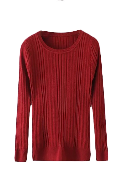 Long Sleeve Round Neck Plain Ribbed Knit Sweater