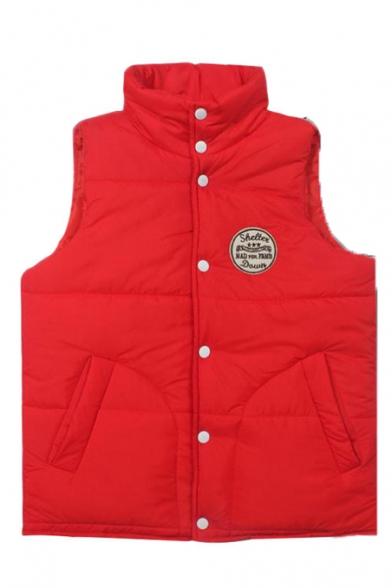 Plain Badge Pattern Stand Collar Single Breast Vest