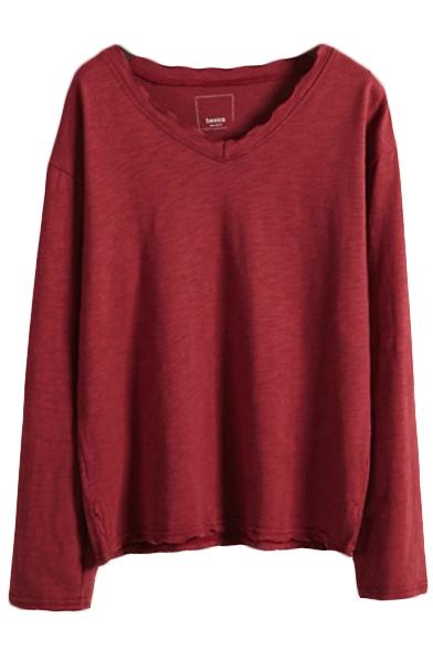 Plain V-Neck Long Sleeve Tunic T-Shirt