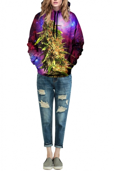 Purple Galaxy Plant Print Long Sleeve Hoodie
