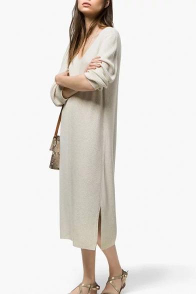 babcab1d20b6 Scoop Neck Long Sleeve Loose Plain Midi Dress - Beautifulhalo.com