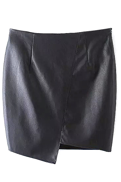 Black Zipper Side Asymmetrical Hem PU Wrap Skirt