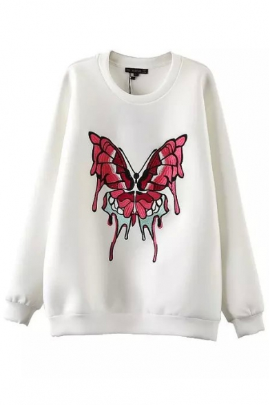 Butterfly Embroidery Round Neck Long Sleeve Sweatshirt