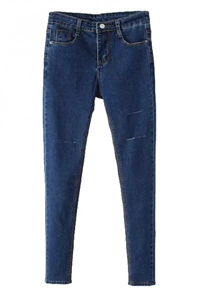 Cigarette Plain Zipper Fly Skinny Jeans
