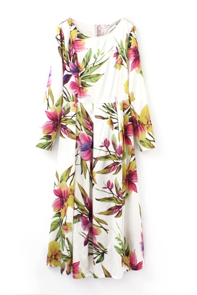 42250e851fd ... Floral Print Round Neck Long Sleeve Zipper Back Fit and Flare Maxi Dress  ...